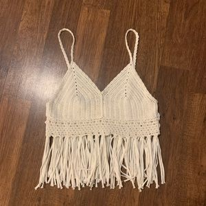 Crochet fringe boho crop top